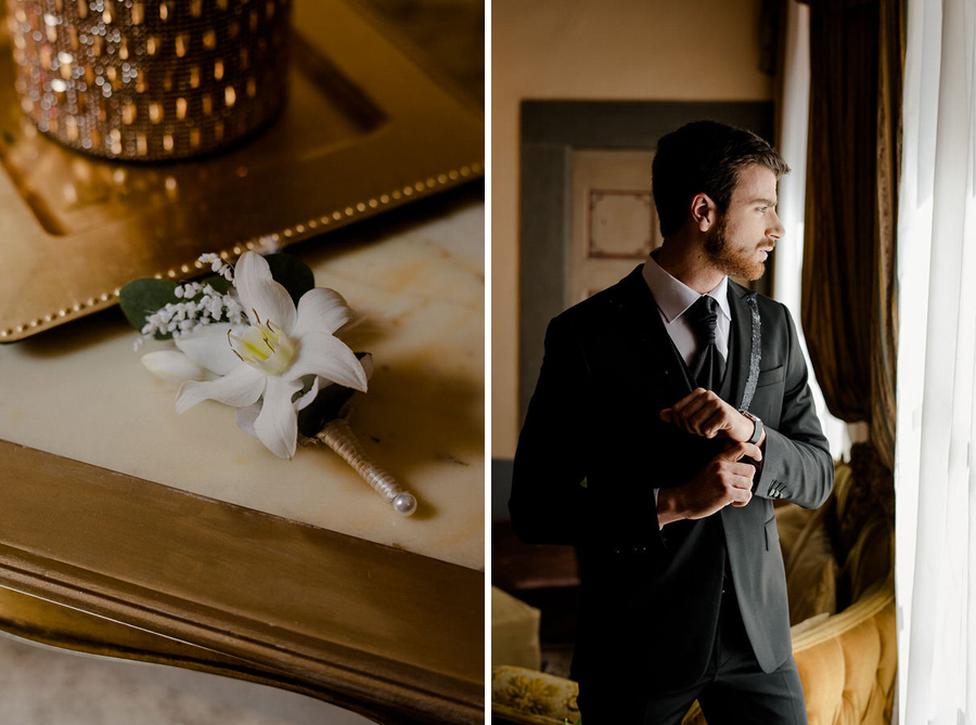 groom with his boutonniere