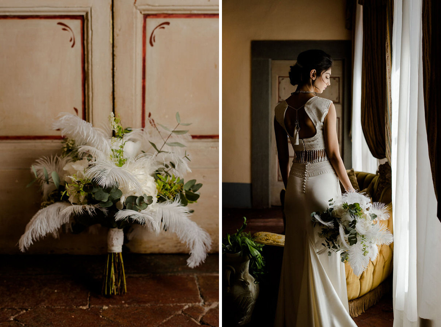 bridal flowers with portrait in tuscany