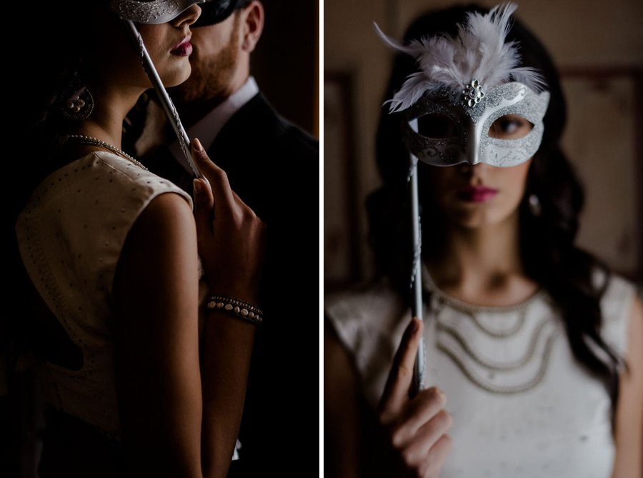 bride and groom with theatrical mask 50 shades of black