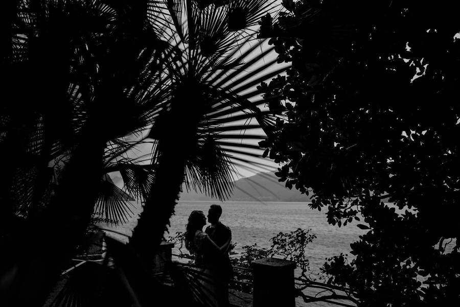 a wedding couple with jungle mood black and white photo