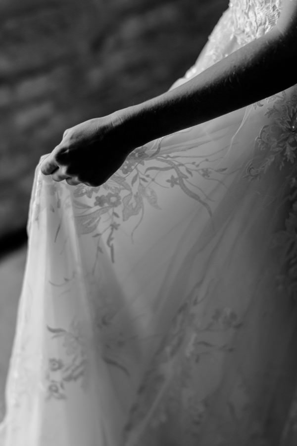 bridal wedding dress detail in black and white
