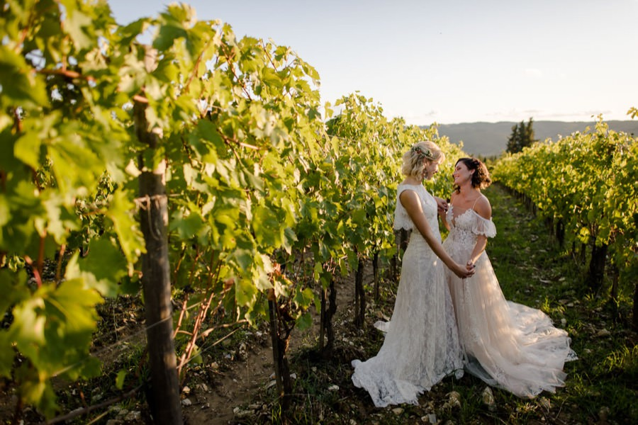 romantic wedding couple in a wineyard